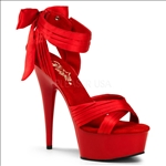 Amazing Crisscross Red Satin Bow 6inch Heel Shoes