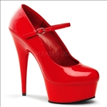 Hot Red Patent Leather 6 Inch Heel Mary Jane Pump