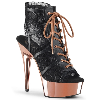 delight 696lc black faux leather lace rose gold ch