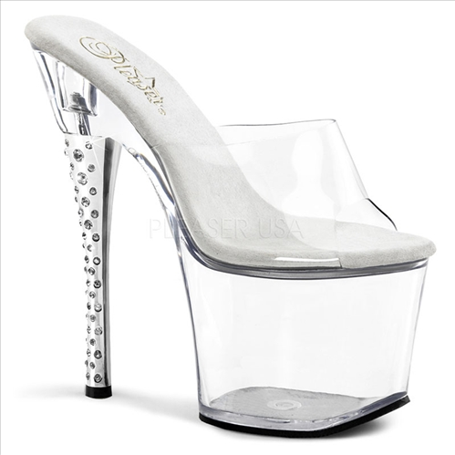 rhinestone embellished heel strapless exotic dancer shoe