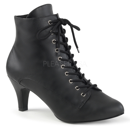 3 inch block heel ankle boot black faux leather