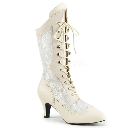 satin lace overlay calf high boot