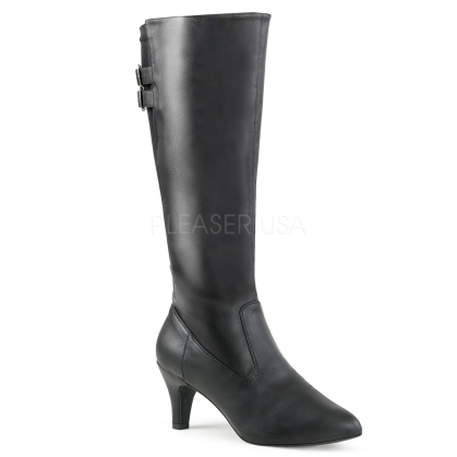 Victorian black faux leather knee high boot