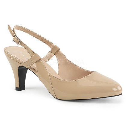 sling back cream color patent pump