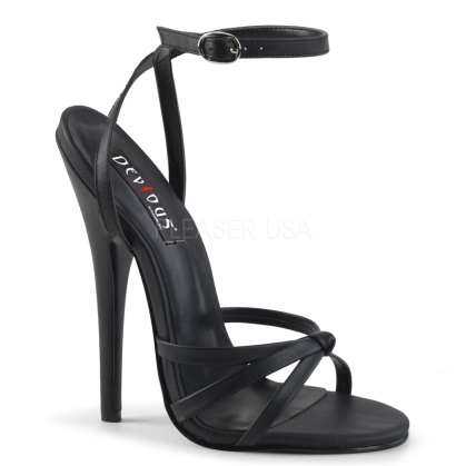 Black Matte Stiletto Heel Strappy Sandal