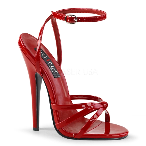 Red Patent Leather Stiletto Heel Strappy Sandal