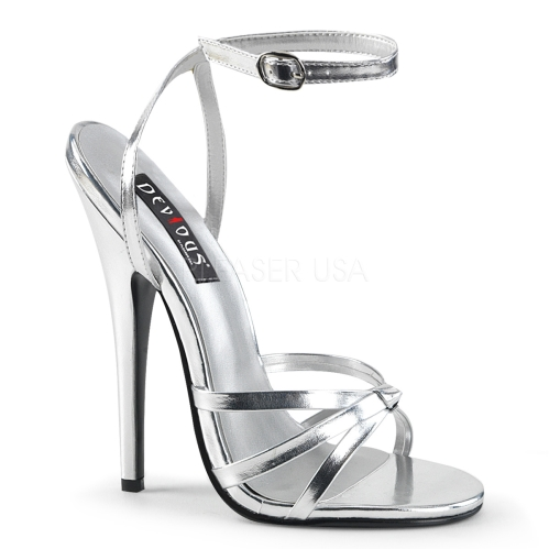 Silver Metallic Stiletto Heel Strappy Sandal