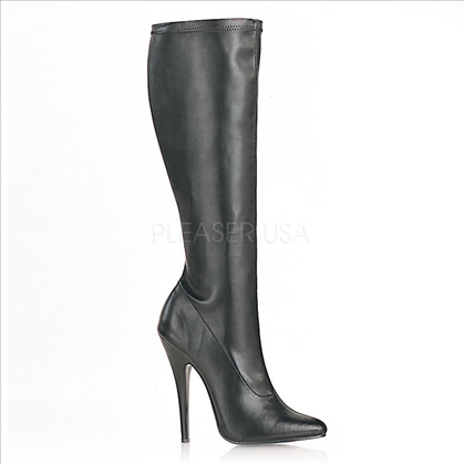 single sole black matte 6 inch heel knee high boots