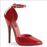 red shinny patent 6 inch heel ankle strap D'Orsay pump