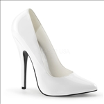 classic pump shiny white patent pointed toe shoe