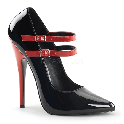 double red strap black patent pointed toe women's shoes