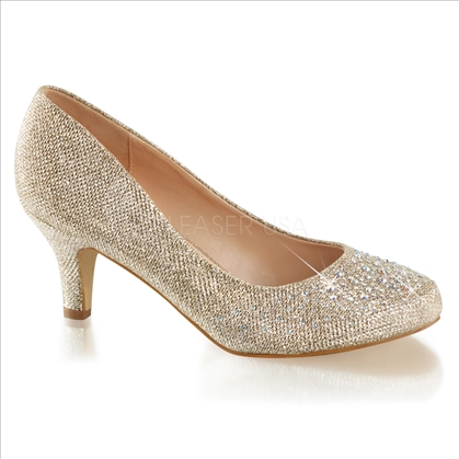 2 1/2 inch heel rhinestones nude glitter mesh fabric wedding shoes