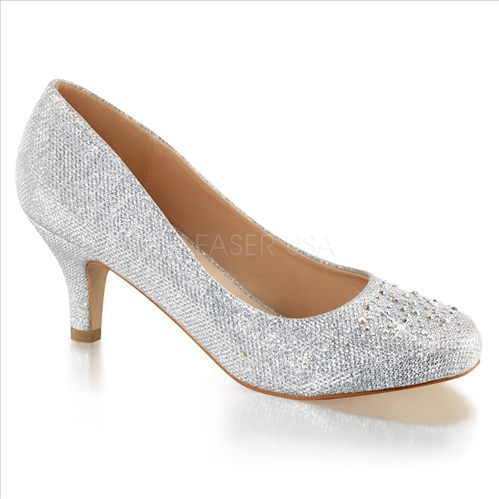 2 1/2 inch heel rhinestones silver glitter mesh fabric wedding shoes