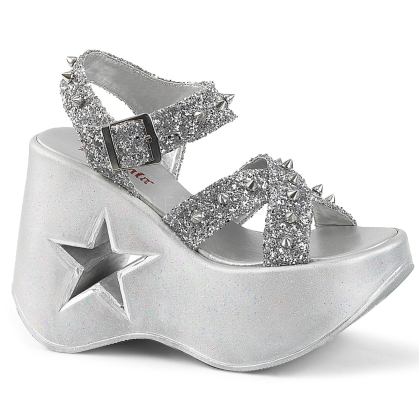 Silver Glitter Star Cutout Wedge Sandal
