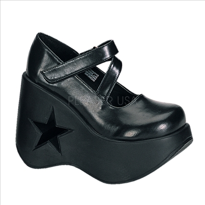 wedge platform star cut out Goth Demonia punk shoes