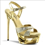cut out platform crisscross ankle strap gold exotic dance shoes