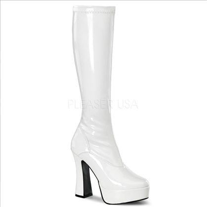 white knee-high side zipper platform exotic dance boots