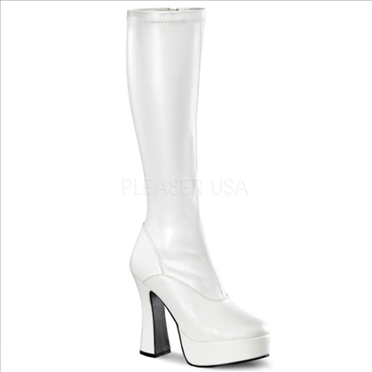 matte white knee-high side zipper platform exotic dance boots