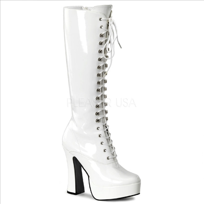 shiny white patent knee-high go-go boots chunk heel
