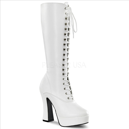 matte white patent knee-high go-go boots chunk heel
