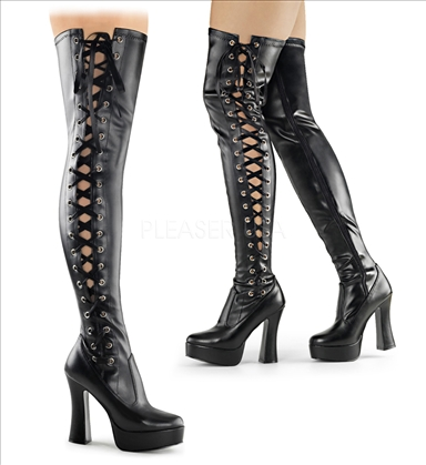 Side lace up black matte thigh high boots