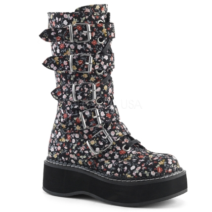 Floral Fabric Lace-Up Mid-Calf Boot