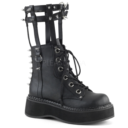 2 inch platform vegan leather black demonia boots