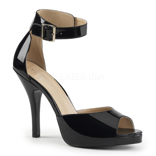 closed back with buckle ankle strap open toe black patent sandals