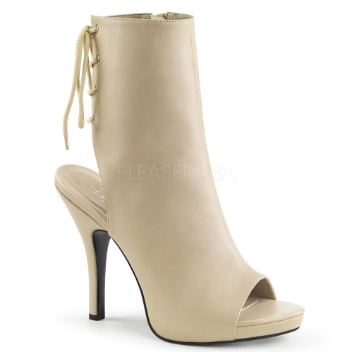 ankle boot with open toe and open heel cream faux leather