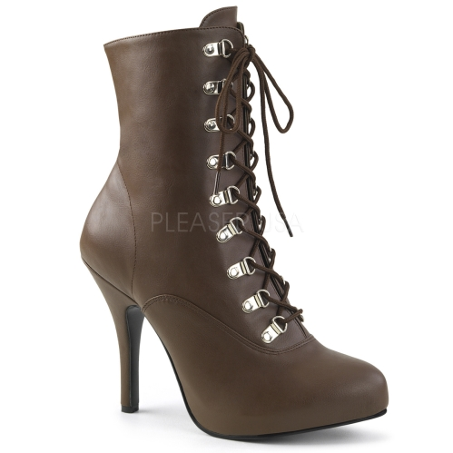 Victorian style ankle boot side zipper in brown faux leather