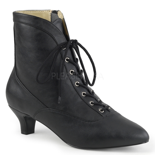 low heel Victorian mid-calf boot in black faux leather