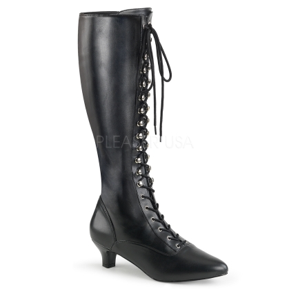 matte black 2 inch heel lace up front knee-high boot