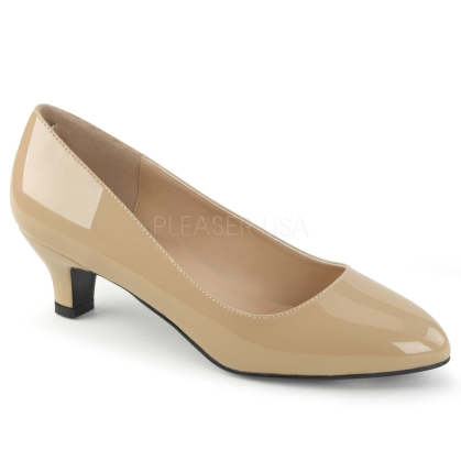single sole 2 inch high cream patent pump classic business style