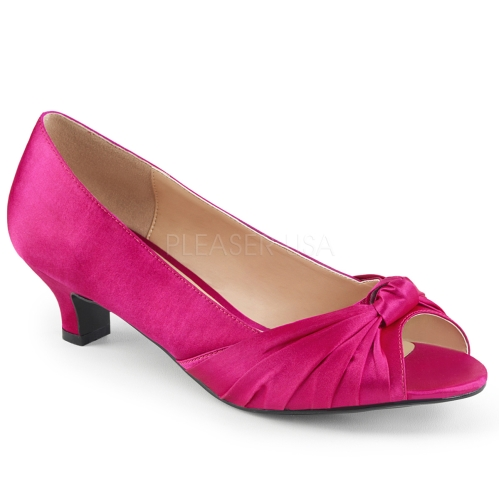 open toe hot pink satin elegant ribbon knot shoe