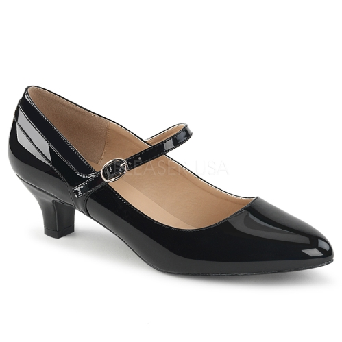Mary Jane low heel pump professional style shiny black patent shoe