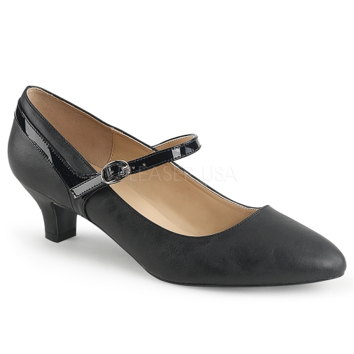 Mary Jane low heel pump professional style matte black shoe