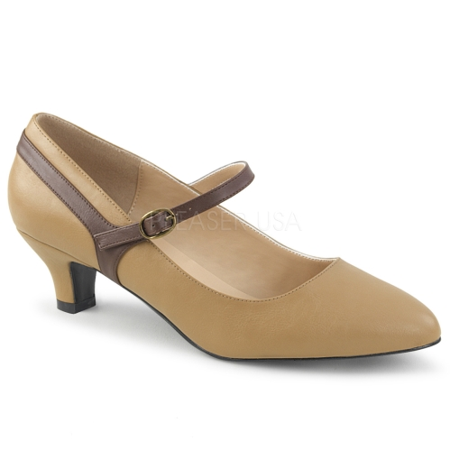 Mary Jane low heel pump professional style brown faux leather