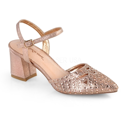 FAYE-06 Rose Gold Block Heel Ankle Strap Pump