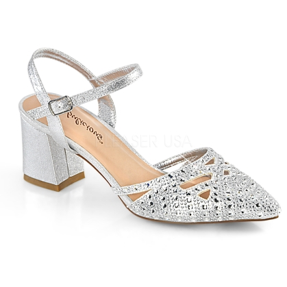 FAYE-06 Silver Block Heel Ankle Strap  Dress Shoe
