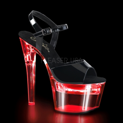 Clear Led Lights Usb Chargeable Black Vamp Shoe