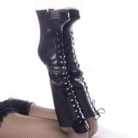 Knee-High Boots Black Matte Leather Fetish