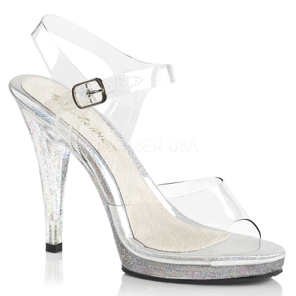 Glittery Clear Women Bodybuilder Posing Shoes