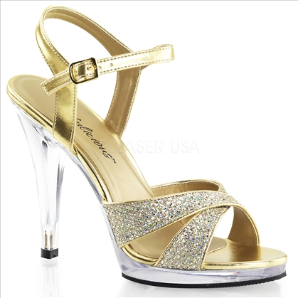 Gold with multi-glitter wedding shoes
