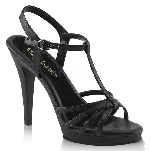 T Strap 4.5 Inch Heel Black Matte Leather Shoes