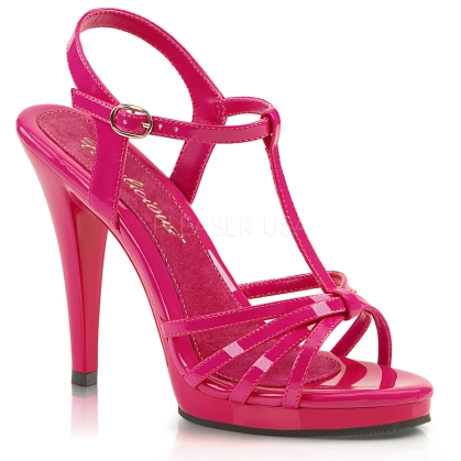 T strap and multi-strap sandal with 4 1/2 inch heel in hot pink patent