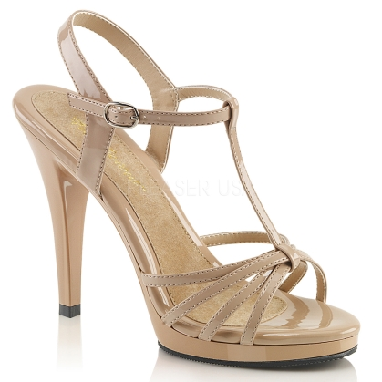 T strap and multi-strap sandal with 4 1/2 inch heel in nude patent