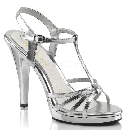 T strap and multi-strap sandal with 4 and half inch heel in silver patent