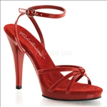 red matte wrap around ankle strap and multi-strap sandal