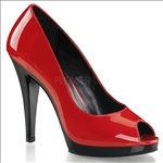 peep toe open toe pumps with closed back in red patent