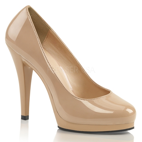 women's nude patent closed toe wear-anywhere shoes